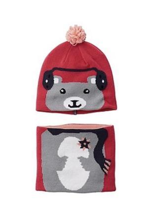Набор шапка и шарф-хомут для дівчинки