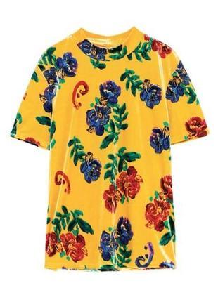 New! горчичная велюровая блуза в цветочный принт 🍁🧡