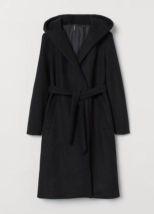 Шерстяное черное пальто-халат с капюшоном h&m