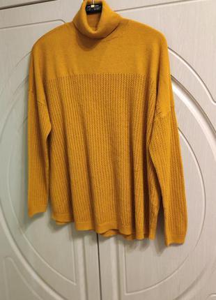 Красивый свитер-гольф горчичного цвета на р 52-54/uk 18