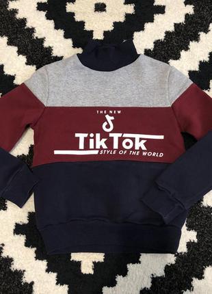Кофта свитер реглан балахон худи светер гольф 122 5-6 tik tok