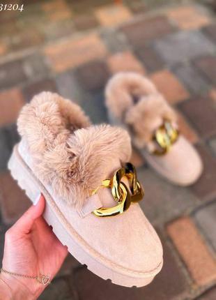 Туфли ботинки эко-замш с мехом женские автоледи с цепью разм. 36, 37, 38, 39, 40, 41