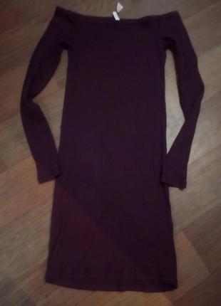 Платье спагетти в рубчик н&м divided размер s ( цвет божоле)