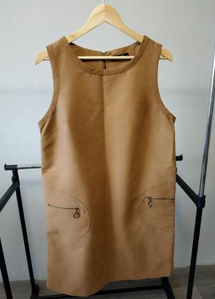 Платье сарафан текстиль под замш коричневое кэмл
