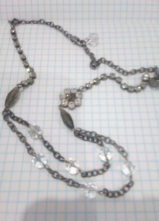 Ожерелье мельхиор горний хрусталь