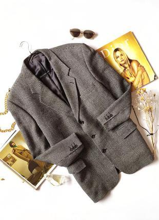 Пиджак черный серый в клетку оверсайз винтаж шерсть блейзер жакет