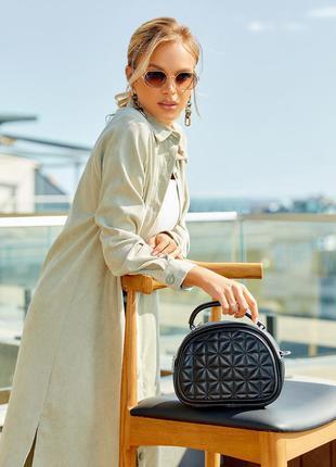 Черная овальная стеганая сумка классика через плечо кросс-боди саквояж