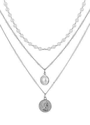 Многослойное ожерелье колье подвеска цепочка жемчуг