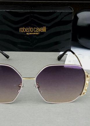 Roberto cavalli очки женские солнцезащитные серо сиреневый градиент в золотом металле
