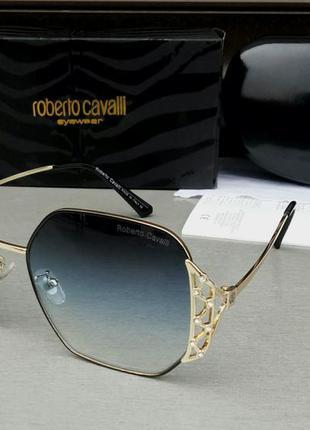 Roberto cavalli очки женские солнцезащитные синий градиент в золотом металле