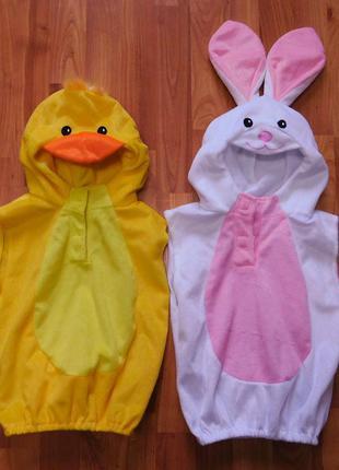 Костюм новогодний детский 1-3 роки кигуруми зайчик зайка заєць ушки