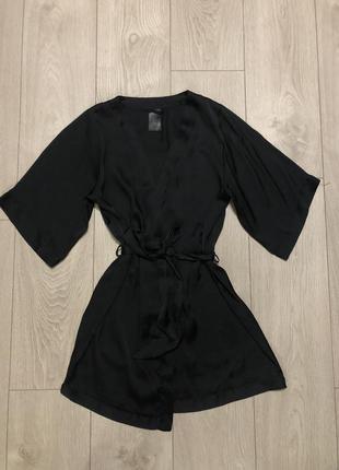 Атласный халат, чёрный халат н&м