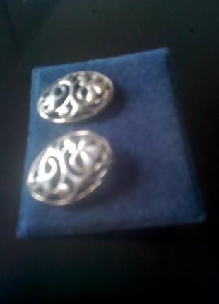 Серьги пуссеты серебро 925