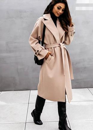 Теплое шерстяное кашемировое пальто мелкий рубчик под пояс оверсайз