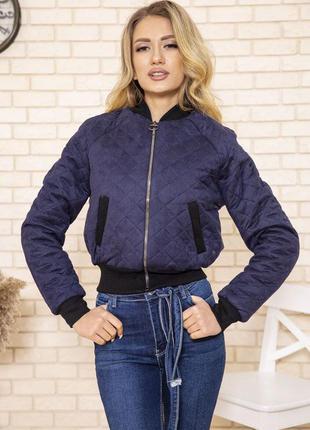 Куртка бомбер женская стеганая цвет синий