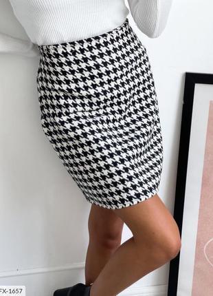 Женская короткая юбка гусиная лапка