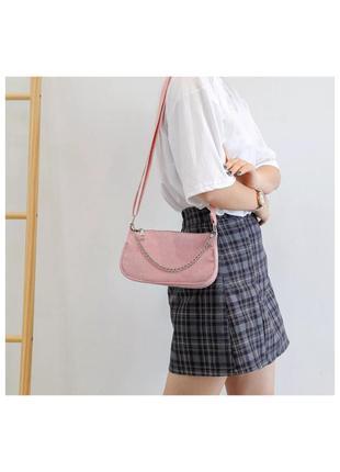 🔗базовая розовая сумка багет сумка с цепями черная сумка маленькая сумка с короткой ручкой