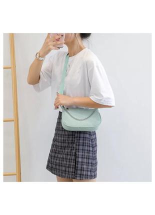 🔗базовая голубая сумка багет сумка с цепями черная сумка маленькая сумка с короткой ручкой
