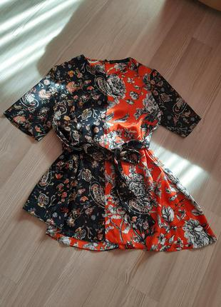Стильная блуза блузка туника под пояс