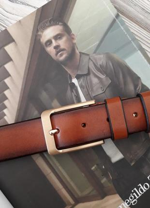 Ремень пояс мужской кожаный коричневый / ремінь пояс чоловічий шкіра