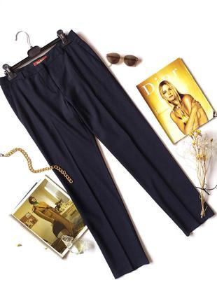 Темно синие брюки прямые штаны со стрелками нави шерсть винтаж max mara