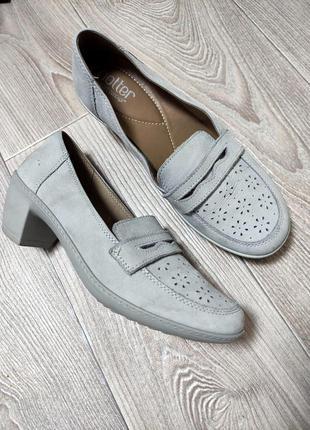 Женские комфортные кожаные мягкие туфли из натуральной кожи нубукаантистресс каблук