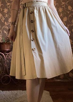 Юбка солнцеклеш, миди, юбка пастельного цвета в ретростиле