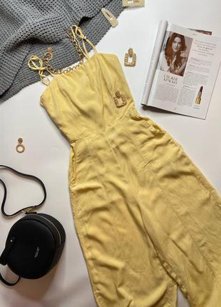 Комбинезон лен желтый bershka