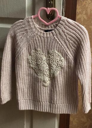 Нежно розовый  цвета свитер для 5-6 лет