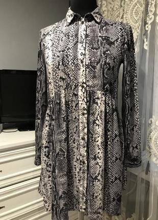 Платье рубашка 💯 вискоза змеиный принт