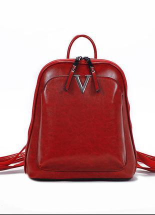 Женский кожаный красный рюкзак