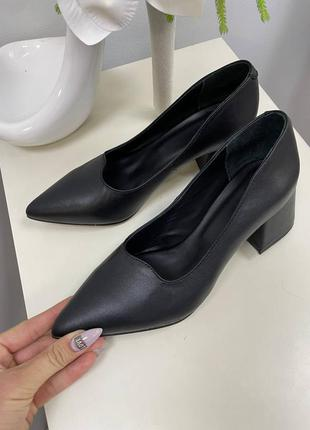 Эксклюзивные туфли лодочки итальянская кожа чёрные