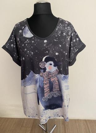 Новая! новогодняя футболка с пингвином