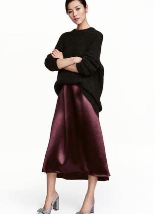 Шикарная сатиновая атласная юбка миди h&m