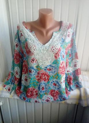 Красивая вискозная блуза большого размера бвтал