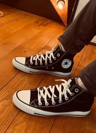 Кеды converse высокие чёрные all star black, кроссовки