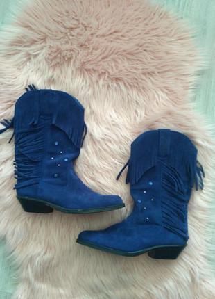 Синие замшевые казаки с бархромой замша wrangler на ногу 25 см eur 40