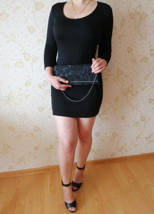 Платье чёрное короткое облегающее