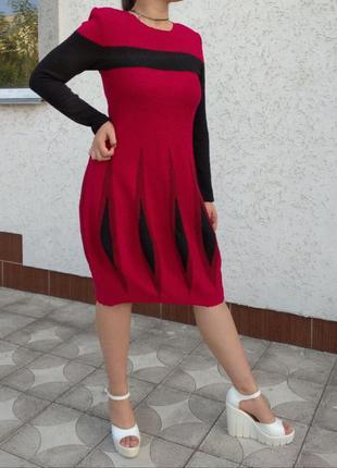 Красное платье фонарик