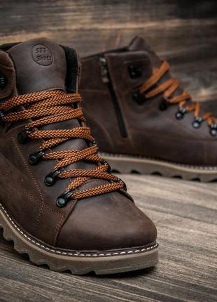 Ботинки кожаные зимние на меху cat rider nubuck brown