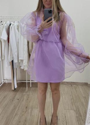 Роскошное! двухслойное платье с обьемными рукавами