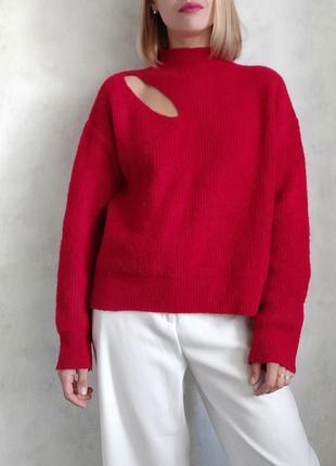 Базовый красный оверсайз джемпер свитер
