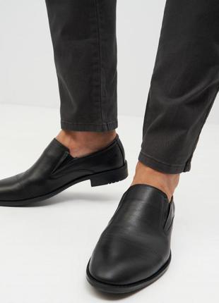 Мужские кожаные туфли лоферы большого размера