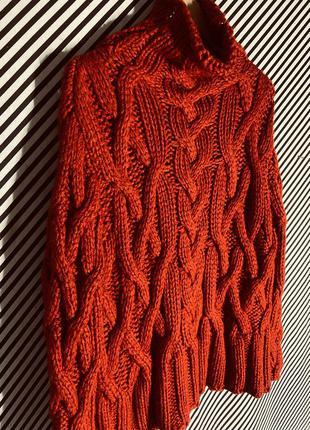 Красный вчитель объёмной вязки оверсайз от zara