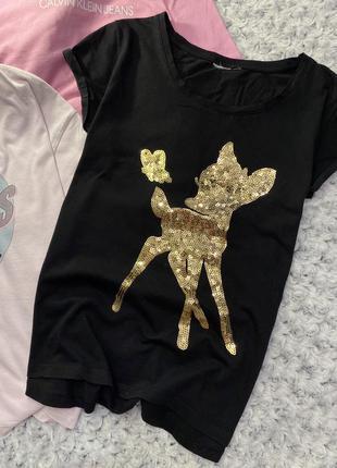 Хлопковая футболка с бемби пайетками