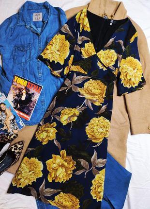 Missguided платье темно синее чёрное жёлтый цветочный принт миди с рукавом волан классическое