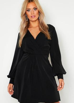 Boohoo платье чёрное миди большое батальное батал с длинным рукавом свободное