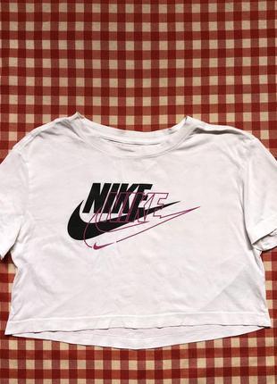 Укороченная футболка хлопковая nike двойное лого посредине кроп топ оригинал