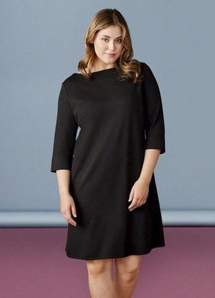 Платье футляр плотный трикотаж рукав 3/4 черное esmara германия р. 50/52