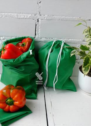 Эко мешок из плащевки зеленый, эко торбочка, мешок для продуктов,тканевой пакет